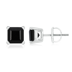 Basket-Set Square Black Onyx Stud Earrings