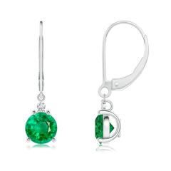 Emerald and Diamond Leverback Drop Earrings