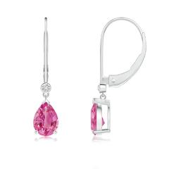 Pear-Shaped Pink Sapphire Leverback Drop Earrings