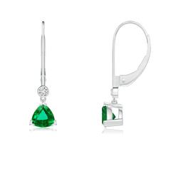 V Prong-Set Trillion Emerald Leverback Drop Earrings