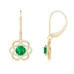 Solitaire Emerald Intertwined Flower Dangle Earrings
