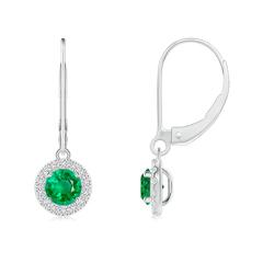 Round Emerald Leverback Halo Dangle Earrings