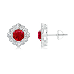 Round Ruby Flower Stud Earrings with Milgrain Detailing