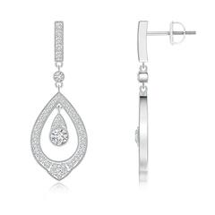 Open Drop Diamond Solitaire Dangle Earrings