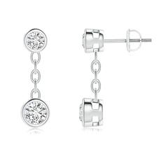 Yard Chain Bezel Set Diamond Drop Earrings