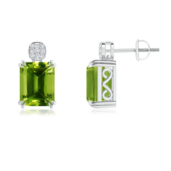 Emerald-Cut Peridot Cocktail Earrings with Diamond Cluster
