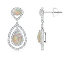 Oval and Pear-Shaped Opal Double Halo Drop Earrings