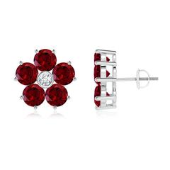 Classic Garnet and Diamond Flower Stud Earrings