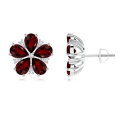 Pear-Shaped Garnet and Diamond Flower Stud Earrings