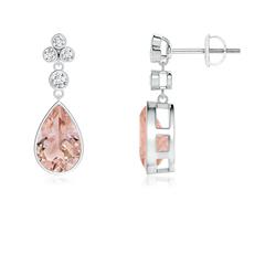 Bezel-Set Morganite Teardrop Earrings with Diamond Accents