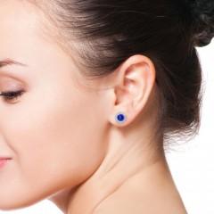 Bezel-Set Tanzanite and Diamond Halo Stud Earrings