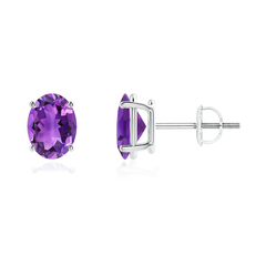 Prong-Set Oval Solitaire Amethyst Stud Earrings