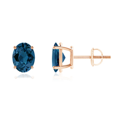 Prong-Set Oval Solitaire London Blue Topaz Stud Earrings