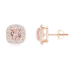 Claw-Set Morganite and Diamond Cushion Halo Stud Earrings