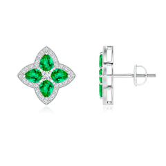 Pear-Shaped Emerald Clover Stud Earrings with Diamonds