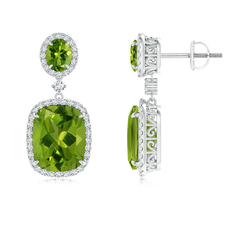 Two Tier Claw-Set Peridot Dangle Earrings with Diamond Halo