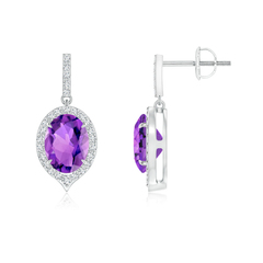 Dangling Claw Oval Amethyst and Diamond Halo Earrings