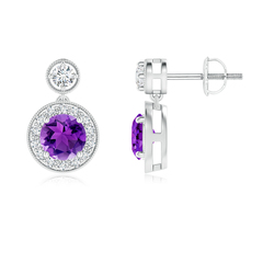 Dangling Amethyst and Diamond Halo Earrings with Milgrain