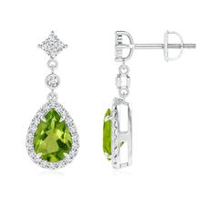 Claw Set Pear Peridot and Diamond Halo Drop Earrings