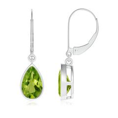 Bezel Set Pear Shaped Peridot Leverback Drop Earrings