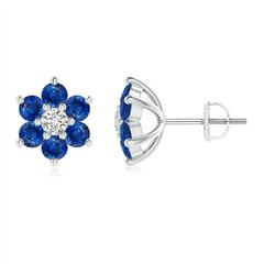 Six Petal Diamond and Sapphire Flower Stud Earrings