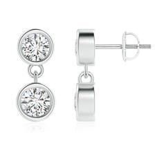 Dangling Two Stone Diamond Earrings