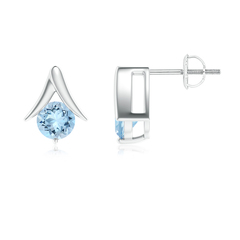 Bar and Prong Set Round Aquamarine Stud Earrings