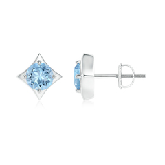 Kite Framed Prong Set Round Aquamarine Stud Earrings