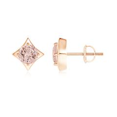 Kite Framed Prong Set Round Morganite Stud Earrings