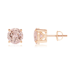 Classic Round Morganite Stud Earrings with 4 Prong Basket Setting