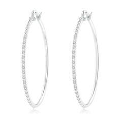Classic Round Diamond Latch Hoop Earrings