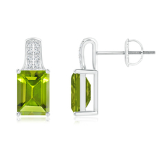 Emerald Cut Peridot Solitaire Stud Earrings with Diamond Accents