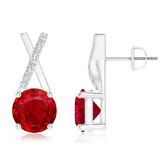 Solitaire Round Ruby XO Stud Earrings with Diamond Accents