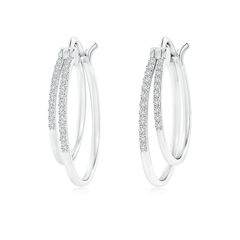 Classic Diamond Studded Double Hoop Earrings