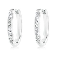 Round Diamond Channel-Set Hoop Earrings