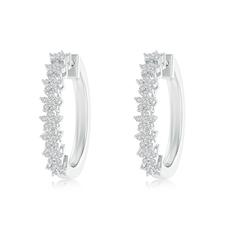 Floating Flower Diamond Cluster Hoop Earrings