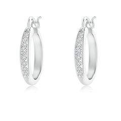 Channel Set Round Diamond Tapered Hoop Earrings