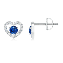 Solitaire Sapphire Open Heart Stud Earrings with Diamonds