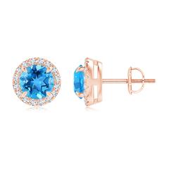 Claw-Set Swiss Blue Topaz and Diamond Halo Stud Earrings