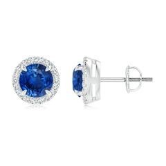 Claw-Set Sapphire and Diamond Halo Stud Earrings