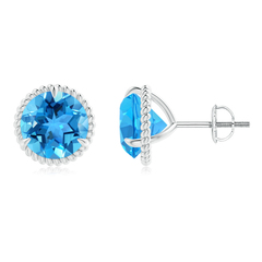 Rope Framed Claw-Set Swiss Blue Topaz Martini Stud Earrings