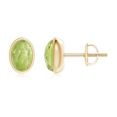 Bezel Set Oval Peridot Solitaire Stud Earrings
