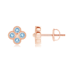 Aquamarine Four Leaf Clover Stud Earrings with Beaded Edges