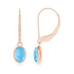Bezel Set Oval Swiss Blue Topaz Solitaire Drop Earrings