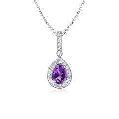 Vintage Diamond Halo Amethyst Drop Pendant