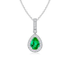 Vintage Diamond Halo Emerald Drop Pendant