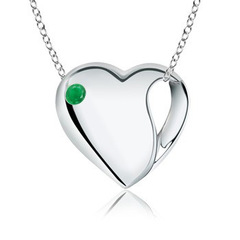 Gypsy Set Heart Shaped Emerald Necklace in Silver