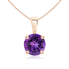 Prong Set Round Amethyst Solitaire Pendant