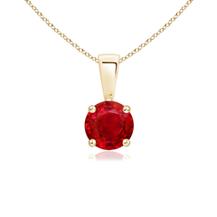 Prong Set Round Ruby Solitaire Pendant