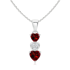 Dangling Garnet and Diamond Triple Heart Pendant